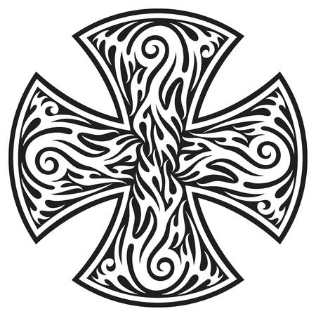 maltese dog: cross  cross tribal tattoo