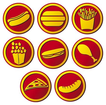 sausage dog: fast food icon  hamburger, pizza, hot dog, sausage, popcorn, drumstick, sausage