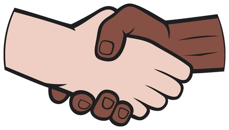 Hand shake between black and white man  handshake