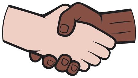 Handbewegingen tussen zwarte en blanke man handshake
