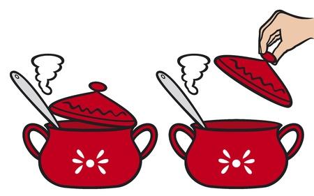 home kitchen pot  boiling pan, cooking pot  Illustration