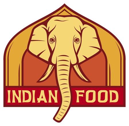 elephant head: indian food label  design