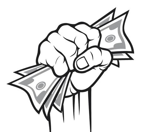 돈을 손에 손에 돈을 손에 지폐를 들고 일러스트