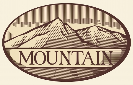 snow capped mountain: vector illustration of mountain landscape Illustration