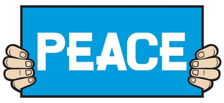 hand held: hand held a banner - peace Illustration