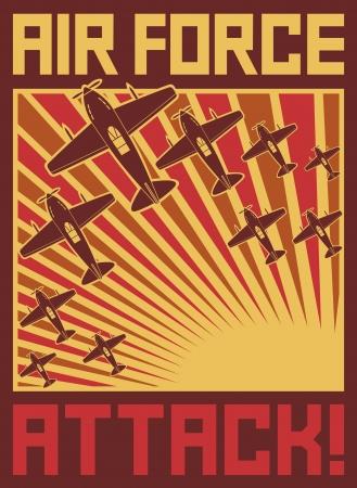 guerra: ataque de aviones de la fuerza a�rea del cartel del vector, aeronaves, aviones de ataque vieja, viejo cartel aviones, aviones de fondo, cartel de la guerra mundial II Vectores