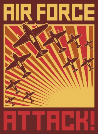 air force attack poster  vector planes, aircraft, old airplanes attack, old planes poster, airplanes background, world war II poster