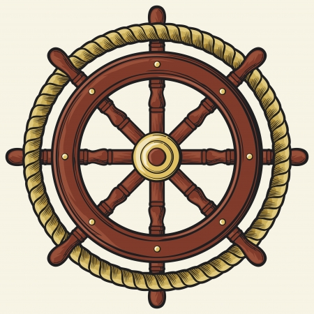 rudder design  badge, emblem  Ilustrace