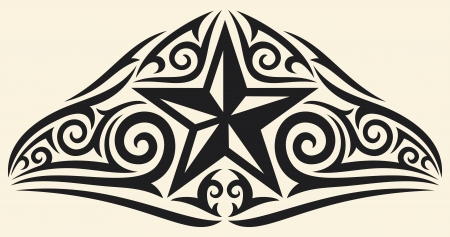 tattoo arm: star tribal design  star tattoo design