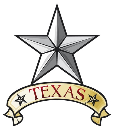 silver stars: Star - Symbol of the State of Texas  Texas Lone Star  Illustration
