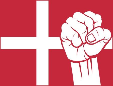 supporting: denmark fist  flag of denmark  Illustration