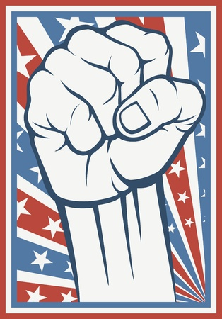 rebel flag: fist - poster  Inspired by the American flag  Illustration