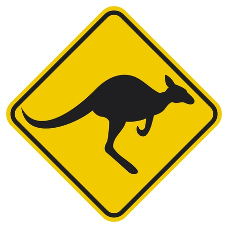 Kangaroo warning sign  Yellow sign  Vector