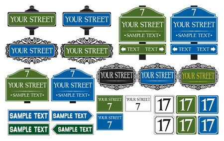 Big collection of road and street signs Vector