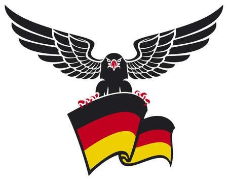 black eagle with the German flag  black eagle holding the German flag  Vector
