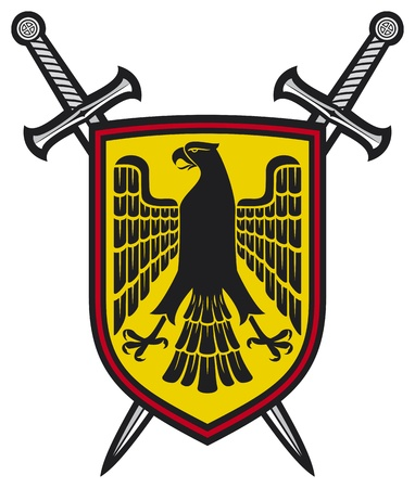 eagle feather: eagle and crossed swords coat of arms heraldic composition - shield, eagle and crossed swords