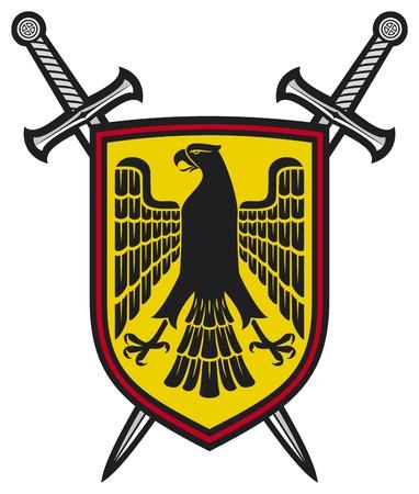 crossed swords: �guila y cruz� espadas escudo de armas composici�n her�ldica - escudo, �guila y espadas cruzadas Vectores