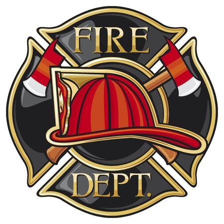 bombero de rojo: Los bomberos del Departamento de Bomberos o del s?olo de la cruz maltesa