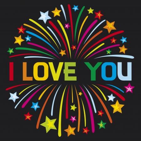 i love you firework Vector