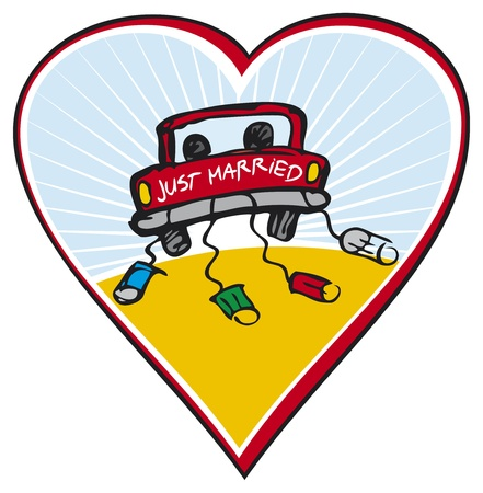 Just married on car driving Illustration