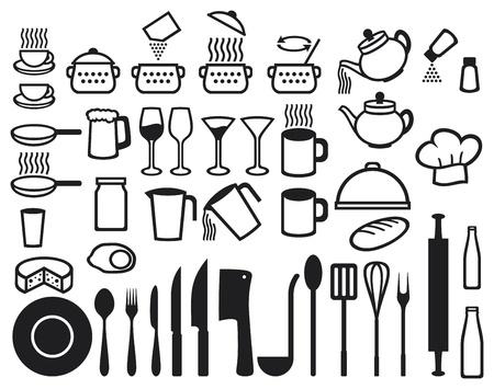 skillet: Kitchen icons set  set of icons on a theme kitchen