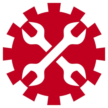 worker sign  crossed wrenches  Vector