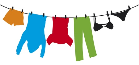 clothes hanging on a clothesline (hanging on thread, clothes drying, t-shirt, boxer short, mens hooded sweatshirt with pocket, pants, panties, bra, laundry hanging to dry)