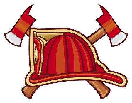 bombero de rojo: Departamento de bomberos o símbolo de fuego Vectores