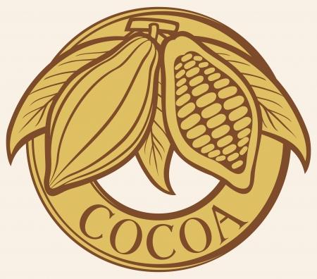 펄프: 카카오 - 코코아 콩 레이블 기호, 배지, 스티커 일러스트