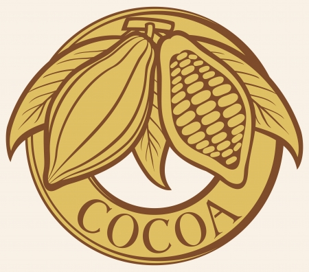 cocoa fruit: Cacao - cocoa beans label  symbol, badge, sticker