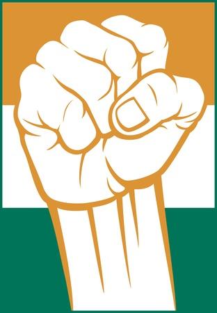 pain scale: india fist  flag of india  Illustration