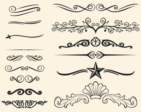 calligraphie chinoise: Ensemble de vecteur d'�l�ments d�coratifs des lignes d�coratives