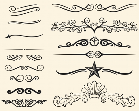 schriftrolle: Vector Reihe von dekorativen Elementen dekorativen Linien