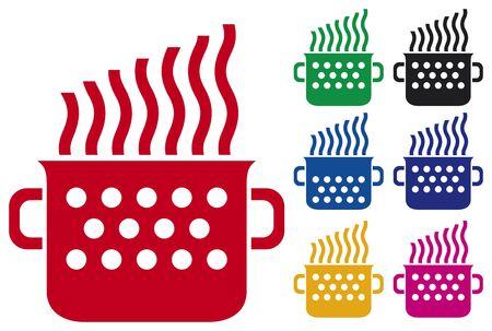 boiling pot: pot icon Illustration
