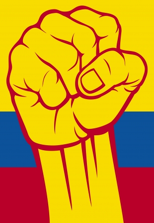 anger abstract: Colombia fist  Flag of Colombia  Illustration