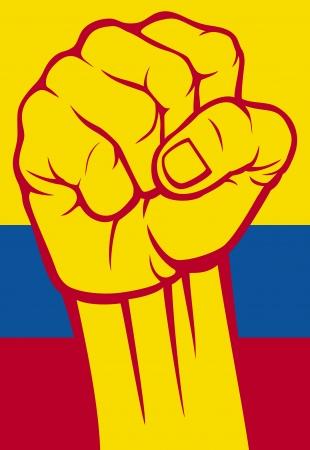 Colombia puño Bandera de Colombia Ilustración de vector