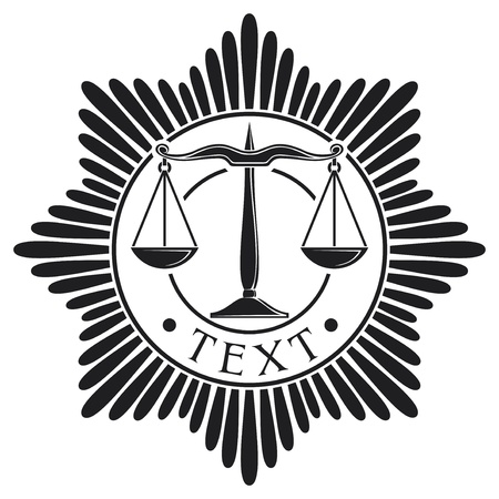 corrupted: scales of justice badge  symbol, order, emblem