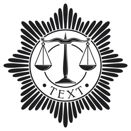 gerechtigheid: schalen van rechtvaardigheid badge symbool, orde, embleem