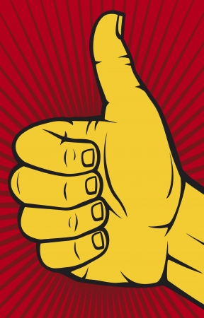 hand showing thumbs up: Vector hand showing thumbs up  Human hand giving ok   Illustration