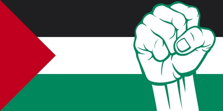 Palestine fist  Flag of Palestine  Vector