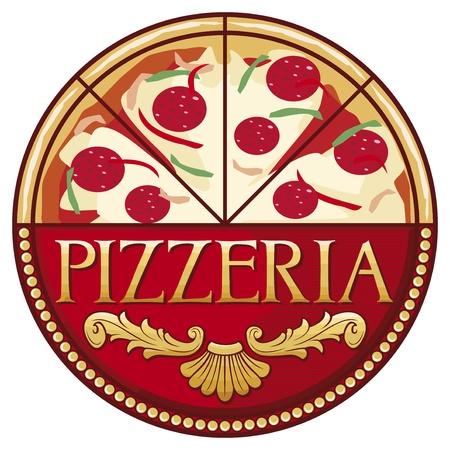 pizzeria label: dise�o de la etiqueta pizzeria