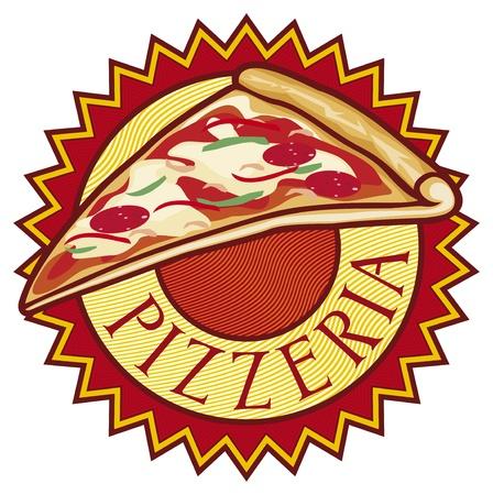 pizzeria label: pizzer?a de dise?o de etiquetas Vectores