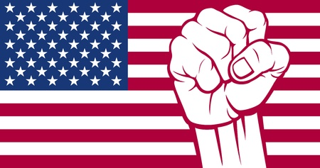 uprising: United States of America fist  Flag of United States of America