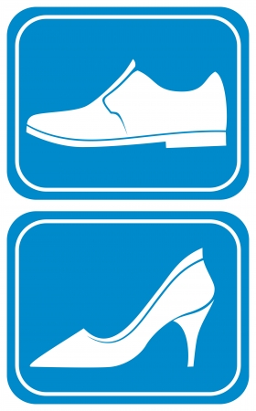 public restroom: toilet sign with shoe