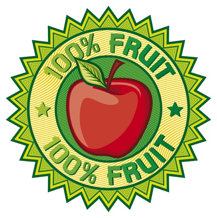 100  fruit label  apple sign, seal, symbol  Vector