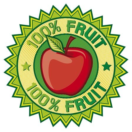 bottle label: 100  fruit label  apple sign, seal, symbol