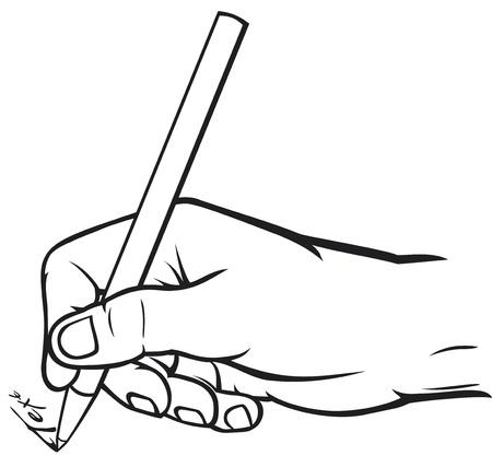 hand holding pen: hand writing