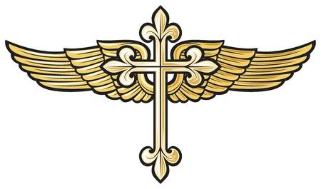 croix de fer: illustration vectorielle de la croix chr�tienne avec l'aile Illustration