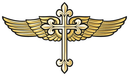 maltese dog: vector illustration of christian cross with wing