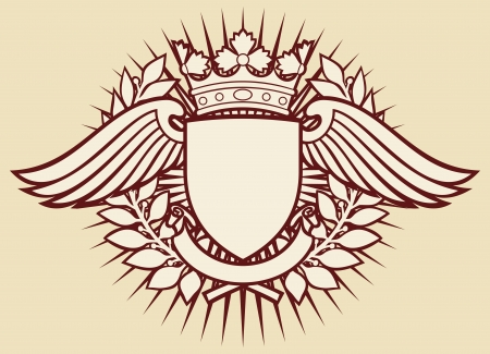 shield: shield and wings with crown